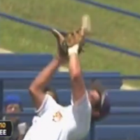 Baseball bounces off fielder's head into teammate's grateful glove