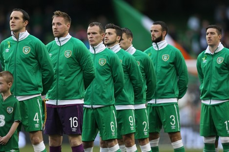 The Ireland team stand for The National Anthem today.