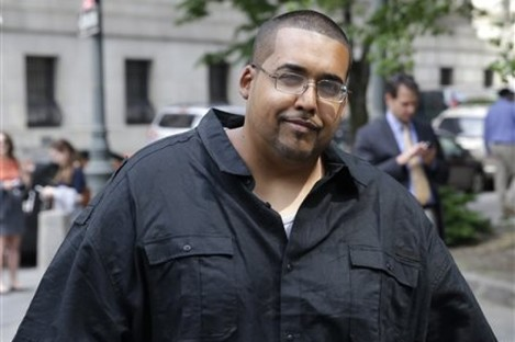 Hector Xavier Monsegur, known as Sabu, arrives at court in New York for a sentencing hearing today.
