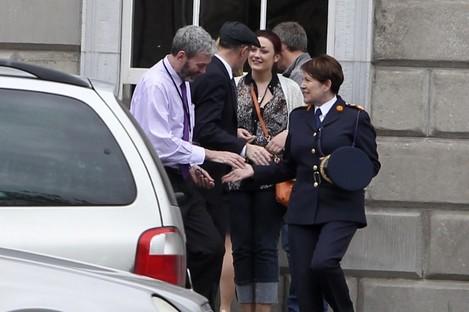 Interim Garda Commissioner Noirin O'Sullivan meets John Wilson outside Leinster House