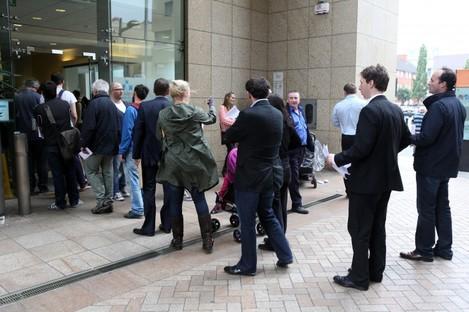 Queues at a Dublin motor tax office. (File photo)