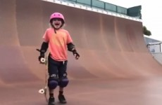 Little girl pulls off a fancy skateboarding trick for the first time, freaks out