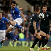 Ireland's Anthony Pilkington does his best Leo Messi impression