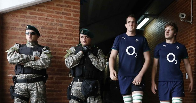 Snapshot: Armed soldier doesn't fancy tangling with Big Devin Toner