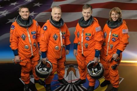 The final crew of the shuttle Atlantis: (left to right) Rex Walheim, Doug Hurley, Chris Ferguson, Sandra Magnus