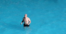 Paul O'Connell never looked more Irish than during today's pool recovery session