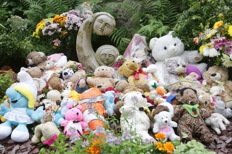 Tributes left at the 'angels plot' in Bessborough House in Cork.