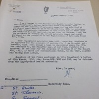 Here's a letter giving state approval of Tuam mother and baby home
