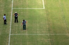 Meanwhile in Manaus, they're 'spray-painting' the brown bits of the pitch