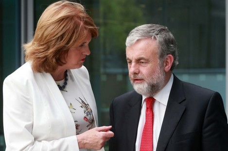 Joan Burton chats to President of SIPTU Jack O'Connor.