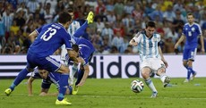 A perfectly-timed photo of Leo Messi's magic moment