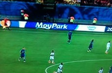 Yes, in case you're wondering that is Moy Park chicken advertising at the World Cup