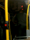Two men arrested after kicking in window on Dublin bus
