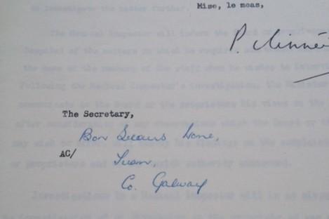 Letter to Bon Secours, Tuam.
