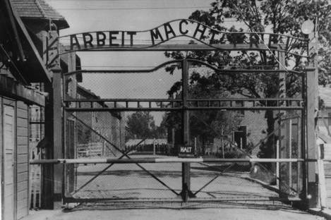The main gate at Auschwitz.