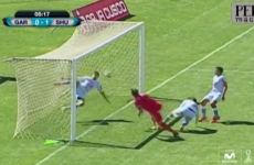 It took a bicycle kick to end this mad goal-mouth scramble after the bar was hit THREE times