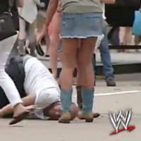 Someone dubbed WWE commentary over a video of an extremely drunk man