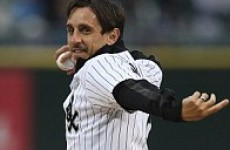 Gary Neville throws first pitch at Chicago White Sox game