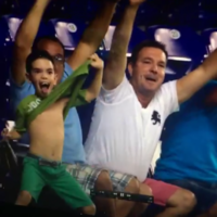 This kid's reaction to his big-screen moment is hilarious and terrifying