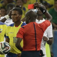 Man United's Antonio Valencia red carded against France