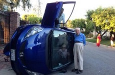 Old couple pose for the best picture ever after their car flips