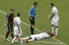 Jermaine Jones floored by referee and Good-night John Boye for Ghana