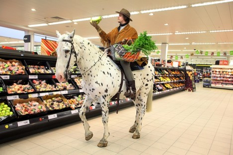 Clean up on aisle two! An English supermarket finds a novel way of celebrating the launch of the DVD of the hit western 'True Grit'