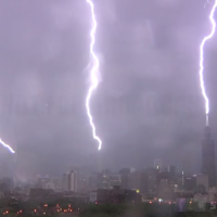 Watch downtown Chicago get hit by a triple lightning strike in this incredible video