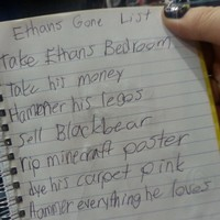 Little girl plots against her brother in hilariously evil list