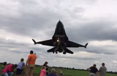 This F-16 fighter jet narrowly missed a crowd of people while it was landing