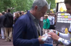 Mourinho stops by the Tour de France to 'swap' shirts with Rui Costa