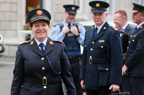 Acting Commissioner Noirín O'Sullivan and other senior gardaí at Leinster House today.
