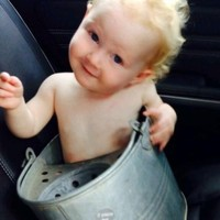 Meet the little baby who got stuck in a mop bucket