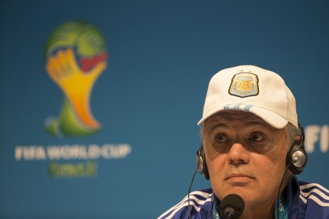 Argentina's head coach Alejandro Sabella listen to questions during a news conference.