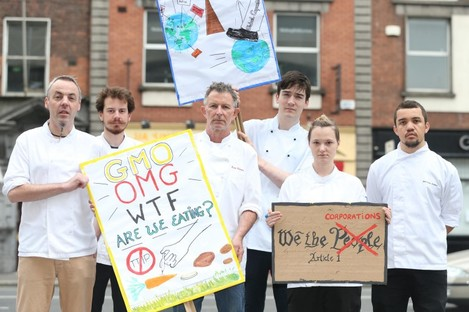 WTF Are We Eating?: Thornton (third from left) and his kitchen staff at the protest.
