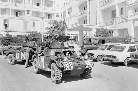 File photo: UN armored cars prepare to move out to patrol ceasefire lines on July 31, 1974 in Kyrenia, Cyprus