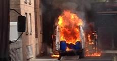 Gardaí close Dublin street after van catches fire