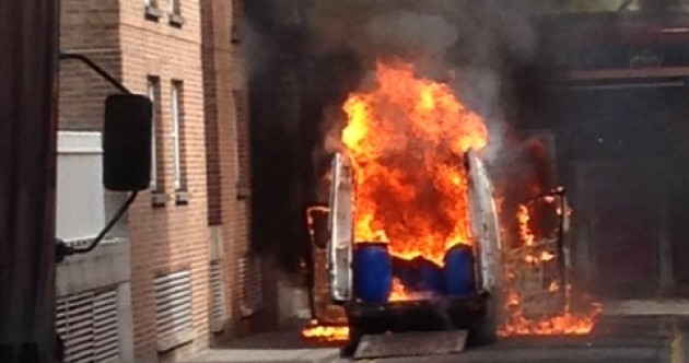 Gardaí close Dublin street after van catches fire