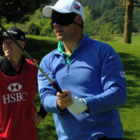 Here's Padraig Harrington with the sweetest blindfolded drive you're likely to see