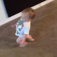 Baby boy does an excellent impression of his pregnant mother