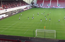 Scottish football player kicks high clearance... and hits a seagull in mid-air
