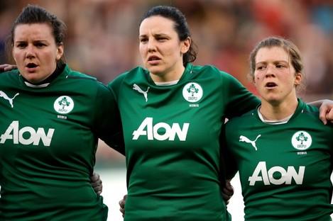 Kerri-Ann Craddock (left), Paula Fitzpatrick and Amy Davis of Ireland Women.