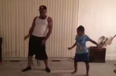 Little girl makes up dance routine, persuades her father to learn it