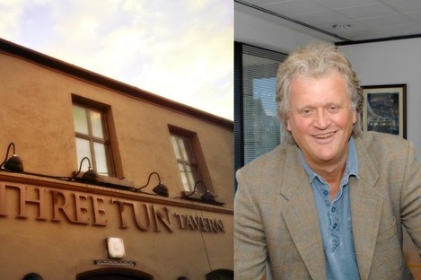The outside of the Three Tun Tavern, and Wetherspoon chairman Tim Martin