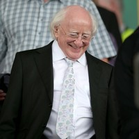 President Michael D Higgins is in Tullamore to cheer on Galway against Tipperary