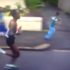 Little Scottish boy tries to race marathon runners... and it ends in a faceplant