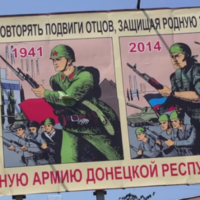 Pro-Russian rebels are using Soviet-era posters to recruit new fighters in Donetsk