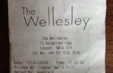 This receipt from a hotel bar in London puts Temple Bar's prices to shame