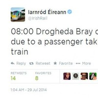 Irish Rail made a typo on Twitter and people were gas about it