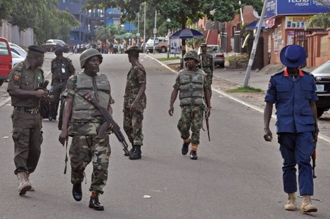 File photo of Nigerian soldiers on patrol.